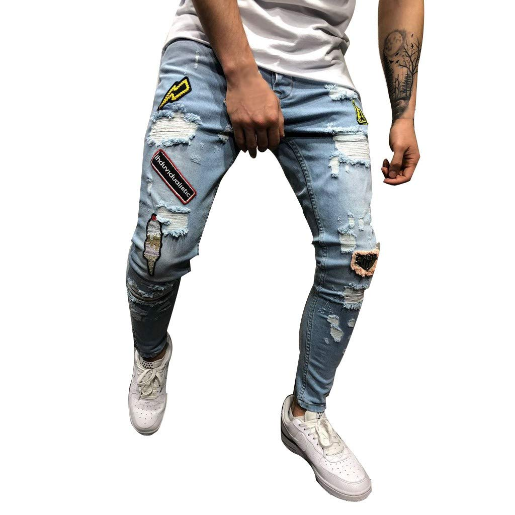Armfre Bottom Men's Skinny Jeans Ripped Pants Embroidered Destroyed Distressed Slim Fit Stretchy Denim Pant Biker Taped Straight Trousers by Armfre Bottom