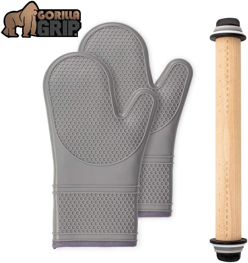 Gorilla Grip Silicone Oven Mitts Set and Rolling Pin, Includes Removable Thickness Measuring Rings, Gray Oven Mitts are Heat Resistant, Roller is in Black/Gray/White/Light Gray Color, 2 Item Bundle