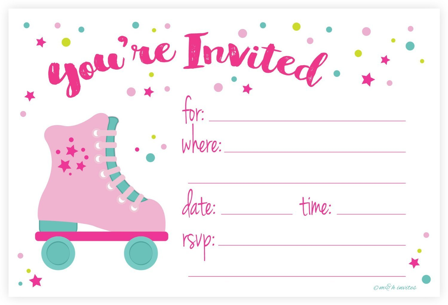 Roller Skate Party Invitations - Fill In Style (20 Count) With ...