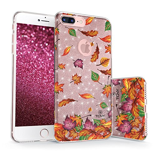 True Color iPhone 7 Plus/iPhone 8 Plus Glitter Case, Sparkase Sparkly Glittering Autumn Fall Leaves Print Three-Layer Hybrid Girly Case with Shockproof TPU Outer Cover on Rose Gold (Autumn Leaves Pattern)