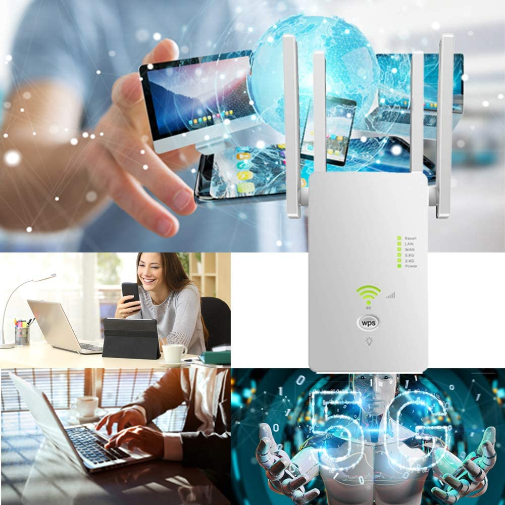 Up to 1200Mbps Extending WiFi to Whole Home and Garden Enjoy Gaming Movies Supports Repeater and AP Mode 2.4 /& 5GHzDual Band WiFi Repeater WiFi Signal Booster with 4 Antennas WiFi Range Extender
