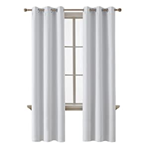 Deconovo Room Darkening Thermal Insulated Blackout Grommet Window Curtain Panel for Bedroom, Greyish White, 42x84 Inch, 1 Panel