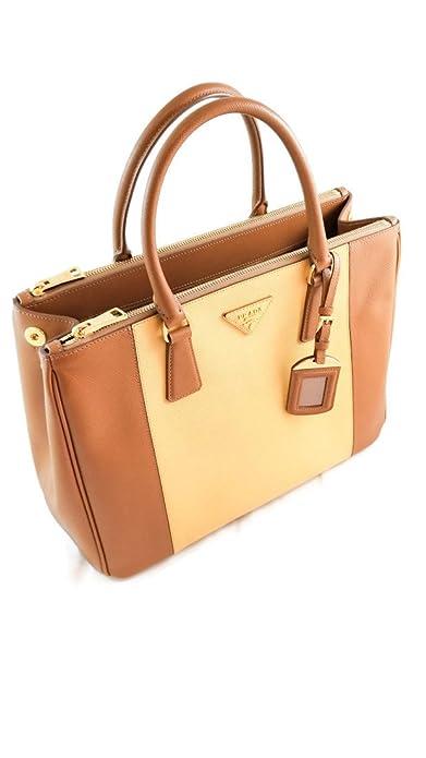302ca92d47b2d7 Prada Caramel Saffiano Leather Double-Tone Lux Top Handle Tote Hand Bag  (Tan): Amazon.ca: Shoes & Handbags