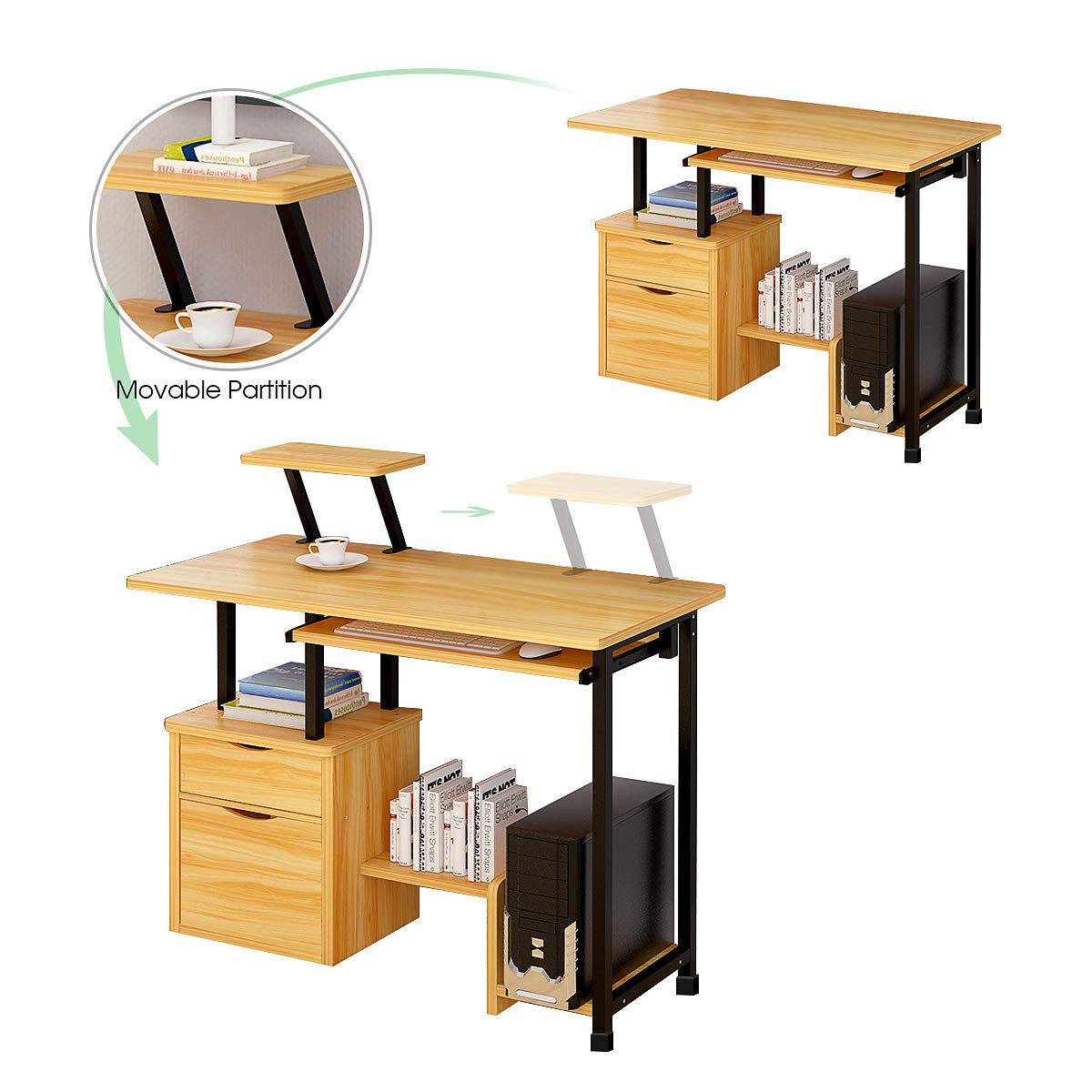 Computer Desk,Laptop Desk Modern Style Writing Study Table Home Office Desk Compact Gaming Desk Multipurpose PC Workstation Steel Frame and Bookshelf for Home Office with Keyboard Tray & CPU Holder by Suninhome (Image #2)