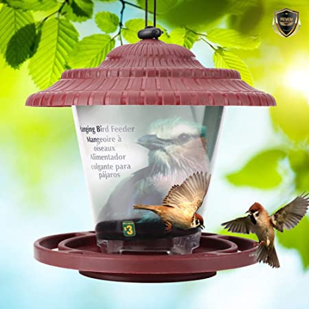 Jeffergarden Alimentador De Aves Contenedor Colgando Semillas De Aves Alimentación Jardín Suministros Comedero para pájaros Silvestres: Amazon.es: Hogar