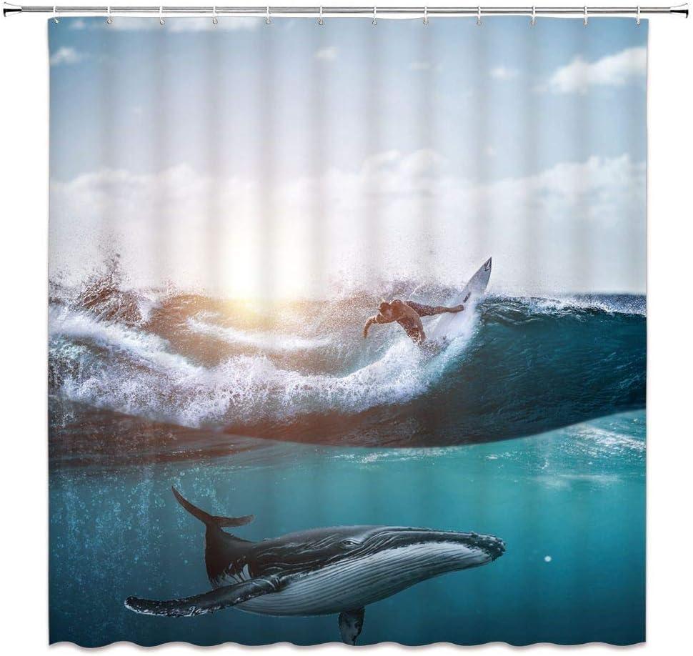 SZZWY Surfing Shower Curtain Hammerhead Shark Sea Animals Cloudy Sky Ocean Wave Swirl Seascape Bathroom Home Decor Quick Drying with Hooks,Blue