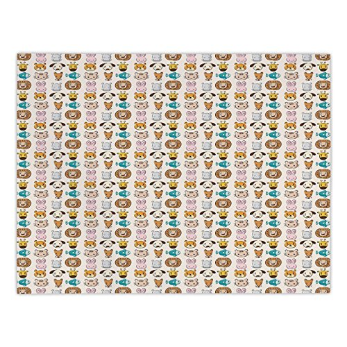 Polyester Rectangular Tablecloth,Baby,Caricature Style Children Animal Portraits Bunny Puppy Kitty Leon Dog Hippo Print Decorative,Multicolor,Dining Room Kitchen Picnic Table Cloth Cover,for Outdoor I]()