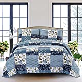 quilts in blue - SLPR Pacific Coast 3-Piece Lightweight Printed Quilt Set (King)   with 2 Shams Pre-Washed All-Season Machine Washable Bedspread Coverlet