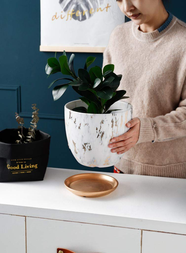 Marble Plant Pot 6.2 inch Modern Ceramic Nordic Style Marble Look Scrub Pots for Plants-Plant Pots Indoor with Drainage Hole and Ceramic Tray for Succulents//Plants//Flowers