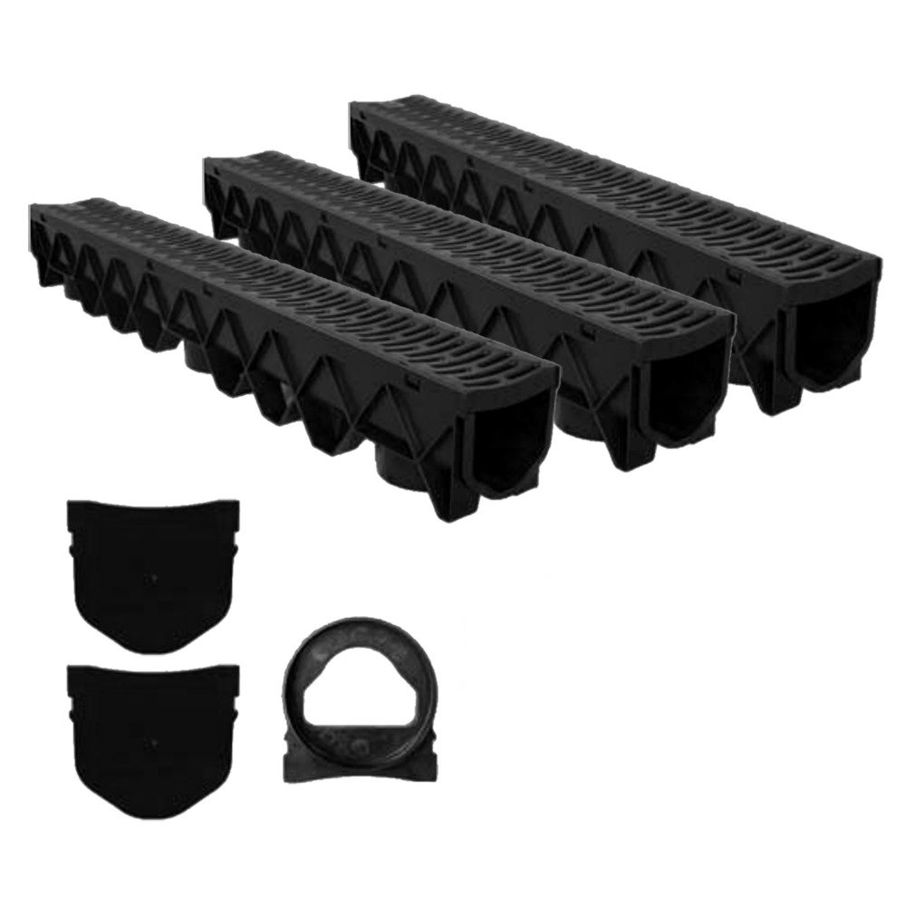 Aquaflow Domestic Garage, Driveway, Garden Gully Rain Water Drainage Channel System Kit Kalsi Plastics uk