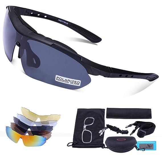 Carfia Gafas de Sol Deportivas para Hombre y Mujer Gafas de Sol Polarizadas Protección UV400 con 5 Lentes Cambiable