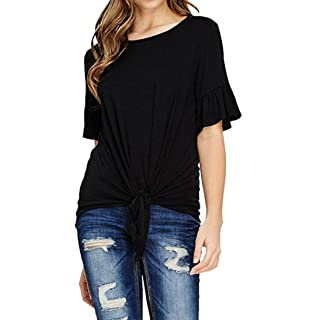 Blouses for Womens, FORUU Casual O Neck Knot Tie Front Loose Tops Tee T Shirts
