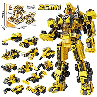 25-IN-1 STEM Building Toys for Kids: Creative Brick Kits for a Big Robot or 12 Small Trucks | Best Gifts for Age 5 6 7 8 9 10 + Year Old Boys & Girls | 573 Pieces Construction Blocks & Separator