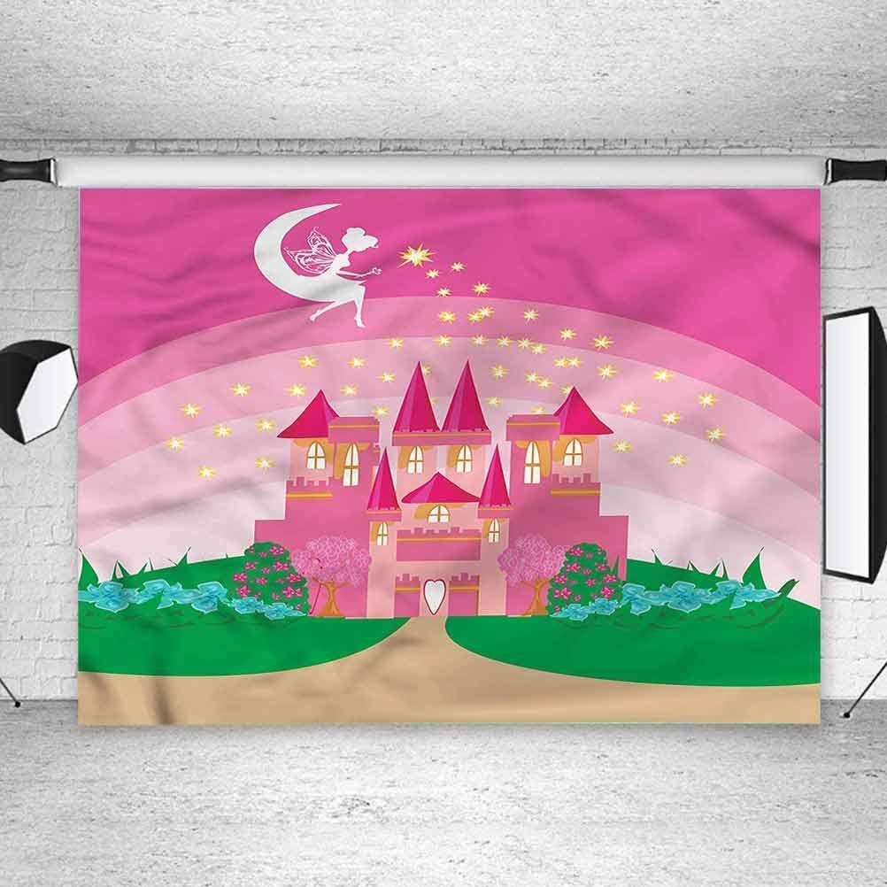 6x6FT Vinyl Photography Backdrop,Girls,Fairytale Castle Princess Background for Graduation Prom Dance Decor Photo Booth Studio Prop Banner