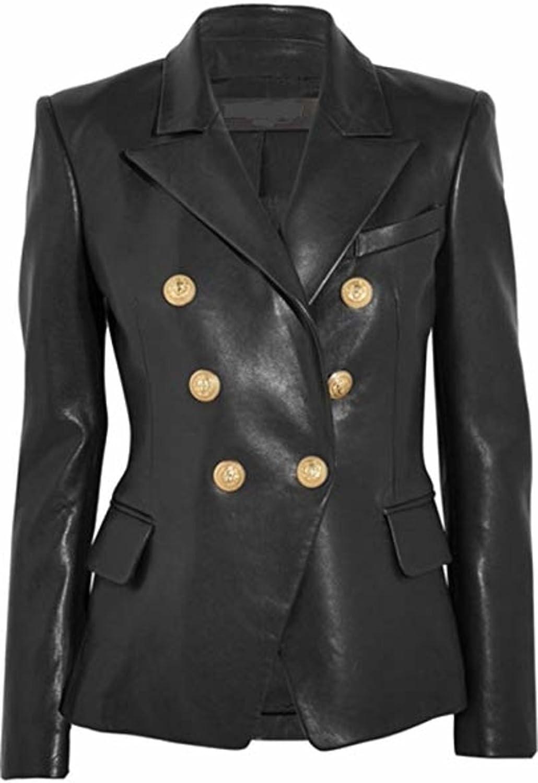 Number Seven Veste Blazer Cuir Femme V/êtement Cuir Noir