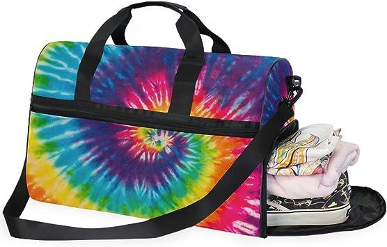Women /& Men Foldable Travel Duffel Bag Tie Dye Spiral For Luggage Gym Sports