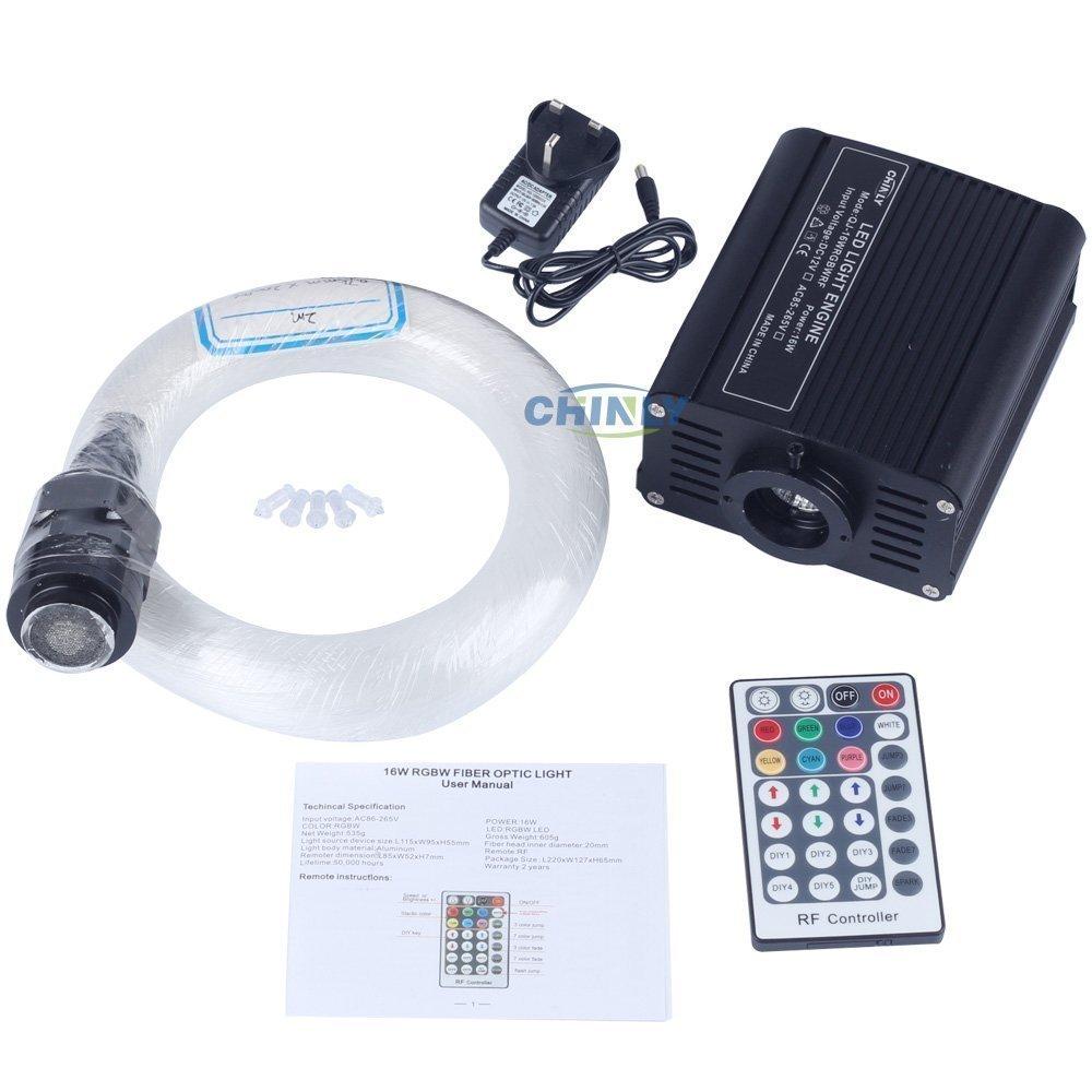 CHINLY 16W RGBW LED Fiber Optic Star Ceiling Kit 0.75+1.0+1.5mm Optical Fiber +3pcs Shooting Stars Effect Mixed 335 Strands 4m Long,