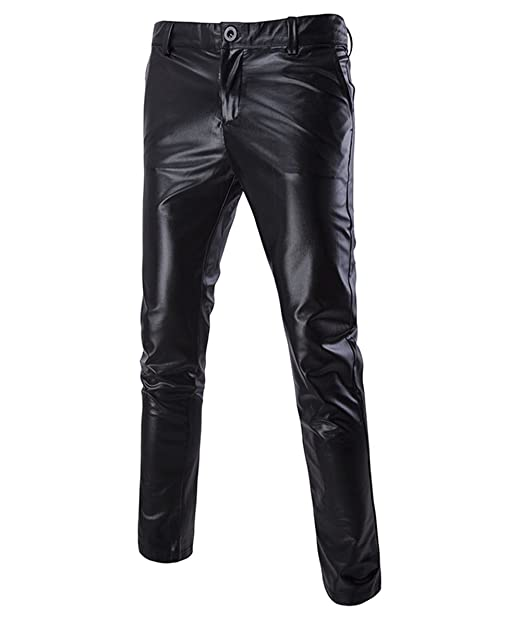 Boyland Mens Casual Night Club Metallic Moto Jeans Style Flat Front Suit Pants Straight Leg Trousers Disco