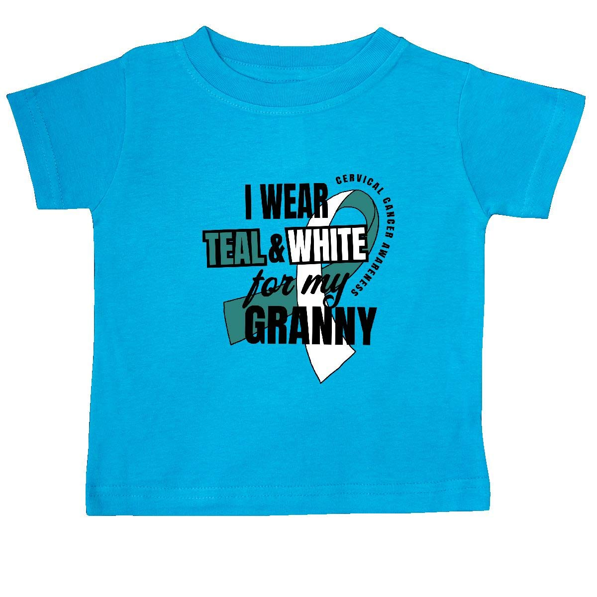 inktastic I Wear Teal and White for My Granny Cervical Cancer Baby T-Shirt