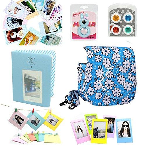 CLOVER Accessory Bundles Set For Fuji Fujifilm Instax Mini 8 Instant Camera (Blue Floral Case Bag/ Album/ Rabbit Self-Portrait / Close-Up Lens(Filter)/ Photo Frame/ Decor Sticker/ Wall Hanging Frame) by Clover
