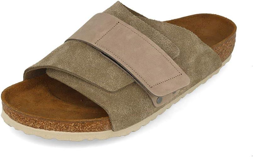 Birkenstock Sandales Kyoto SuedeCuir Nubuck Taupe, Homme