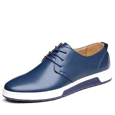 Herren Leder Business Schuhe Casual Anzugschuhe Zum Reinschlüpfen Halbschuhe Anzüge Hochzeit Schuhe Mokassins Flache Slipper Slip on Schuhe Männer Blau Übergrößen 47 LGWOcfD