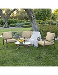 Best Choice Products 4 Piece Cushioned Patio Furniture Set W/...