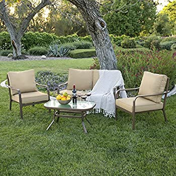Best Choice Products 4 Piece Cushioned Patio Furniture Conversation Set  W/Loveseat, 2 Chairs, Coffee Table   Beige