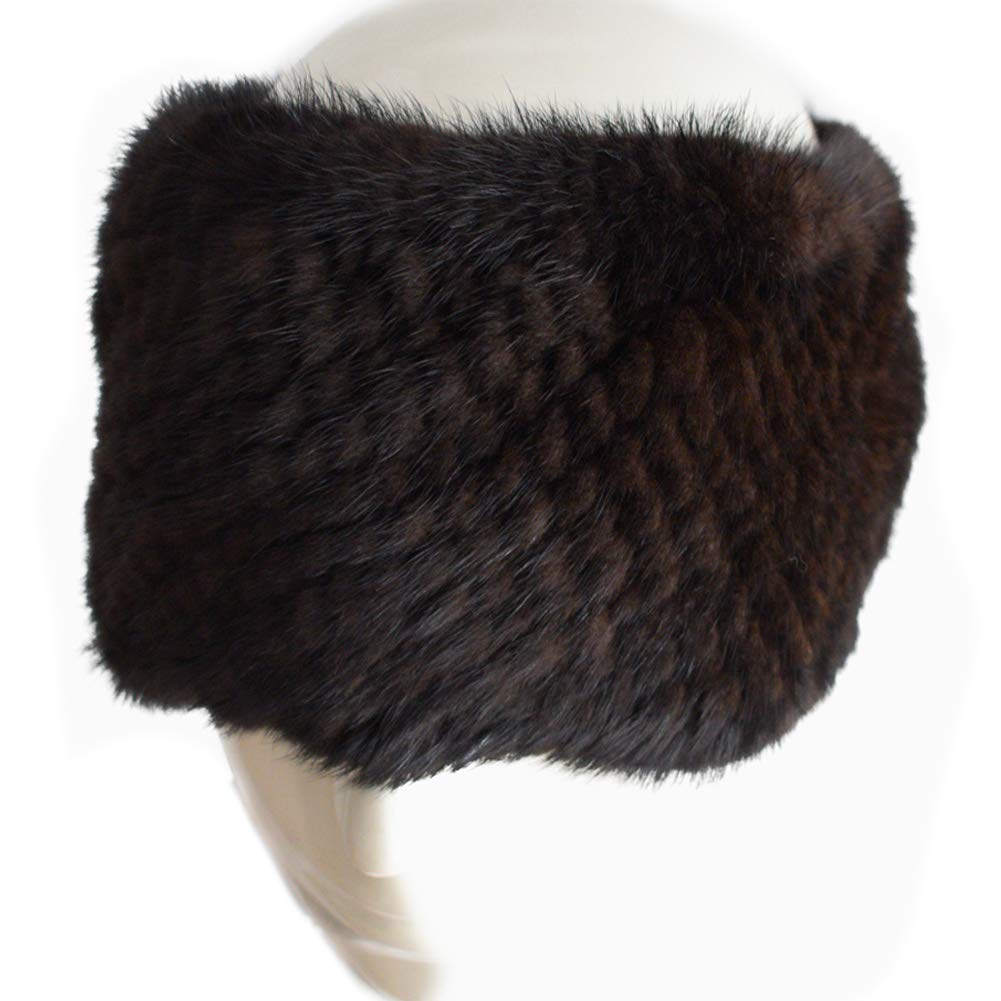 6f018681 Valpeak Womens Winter Headbands Real Knitted Mink Fur Earmuff Hat Strong  Elasticity (Brown)