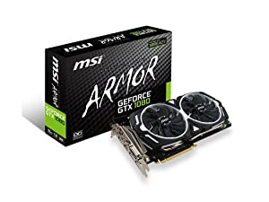 MSI Gaming GeForce GTX 1080 8GB GDDR5X SLI DirectX 12 VR Ready Graphics Card (GTX 1080 ARMOR 8G OC)