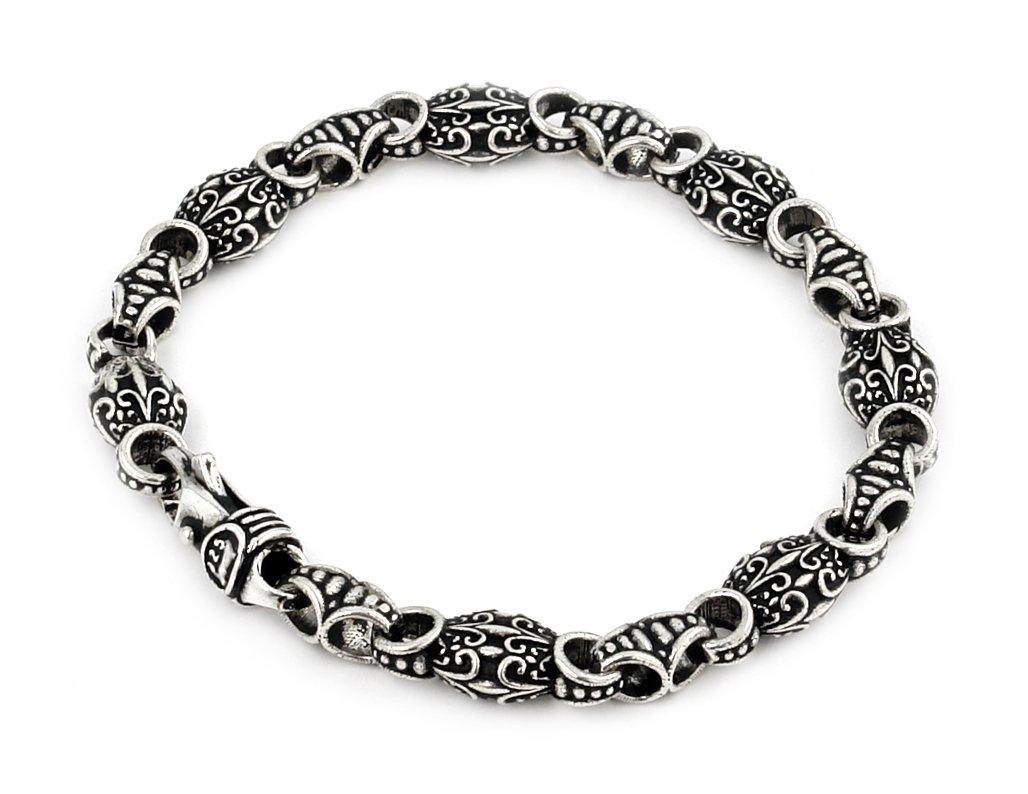 Twisted Blade 925 Sterling Silver Intricate Oval Link Bracelet 7''