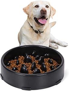 JASGOOD Slow Feeder Dog Bowl New Arriving Slow Feeding Interactive Bloat Stop Dog Bowls,Black,Medium