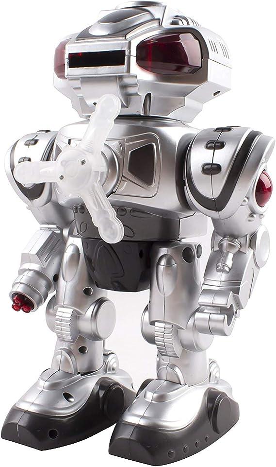 Amazon.es: Vokodo Android con Pilas del Disco Disparador de Juguete Robot Que Camina, Las Luces Que Destellan, Hablar, Rotar, Disco de Disparo del Robot de Juguete (Plata)