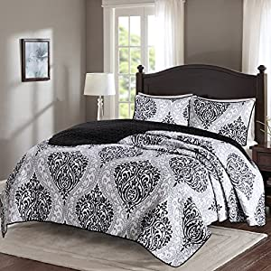 Comfort Spaces - Coco Mini Quilt Set - 3 Piece - Black and White - Printed Damask Pattern - King size, includes 1 Quilt, 2 Shams