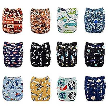 Babygoal Baby Adjustable Reuseable Pocket Cloth Diaper Nappy 12pcs + 12pcs 5-layer Charcoal Bamboo Reusable Inserts 12FN51-3 Huapin