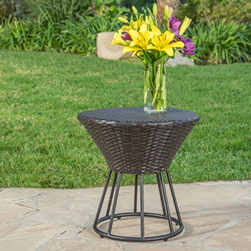 Kavala Brown Wicker Outdoor Side Table by GDF Studio