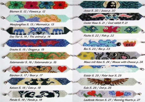 Mehr Motivarmbänder aus Perlen /More beaded Bracelets: 16 verschiedene Motive /16 different patterns