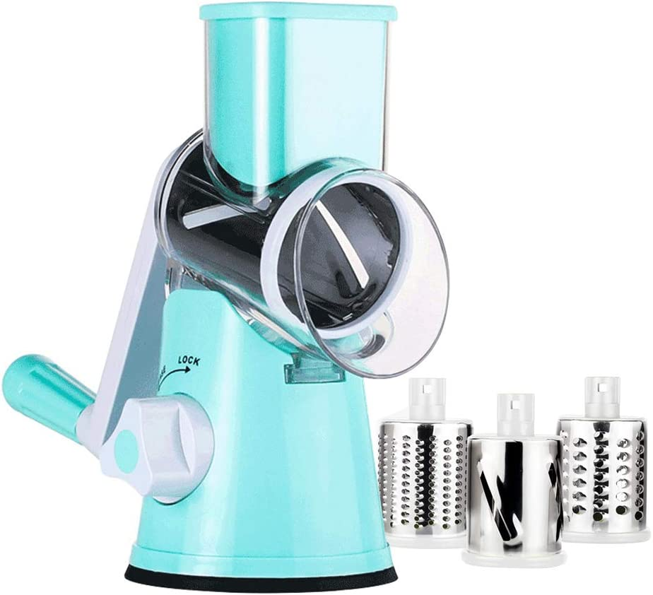Manual Rotary Cheese Grater - Round Mandoline Slicer with Strong Suction Base, Vegetable Slicer Nuts Grinder Cheese Shredder (Rotary Grater -Blue)