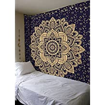 Navy Blue Gold Passion Hippie Gypsy Ombre Mandala Boho Mandala Multicolor Wall Hanging Home Decor Bedspread Tapestry By Bless International Queen Size 84X90 Inches (215x230 Centimeters)