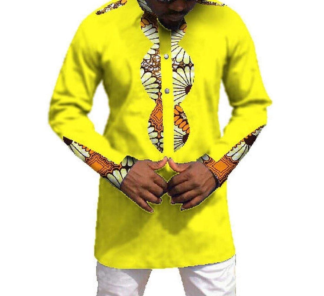 Fieer Mens African Floral Mulit Color Batik Plus Size Tops T-Shirts