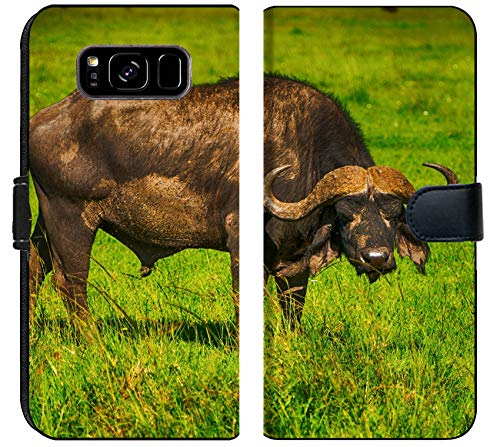 Samsung Galaxy S8 Plus Flip Fabric Wallet Case Male Cape Buffalos Standing in Short Grass Image 34700099 Customized Tablemats Stain Re ()