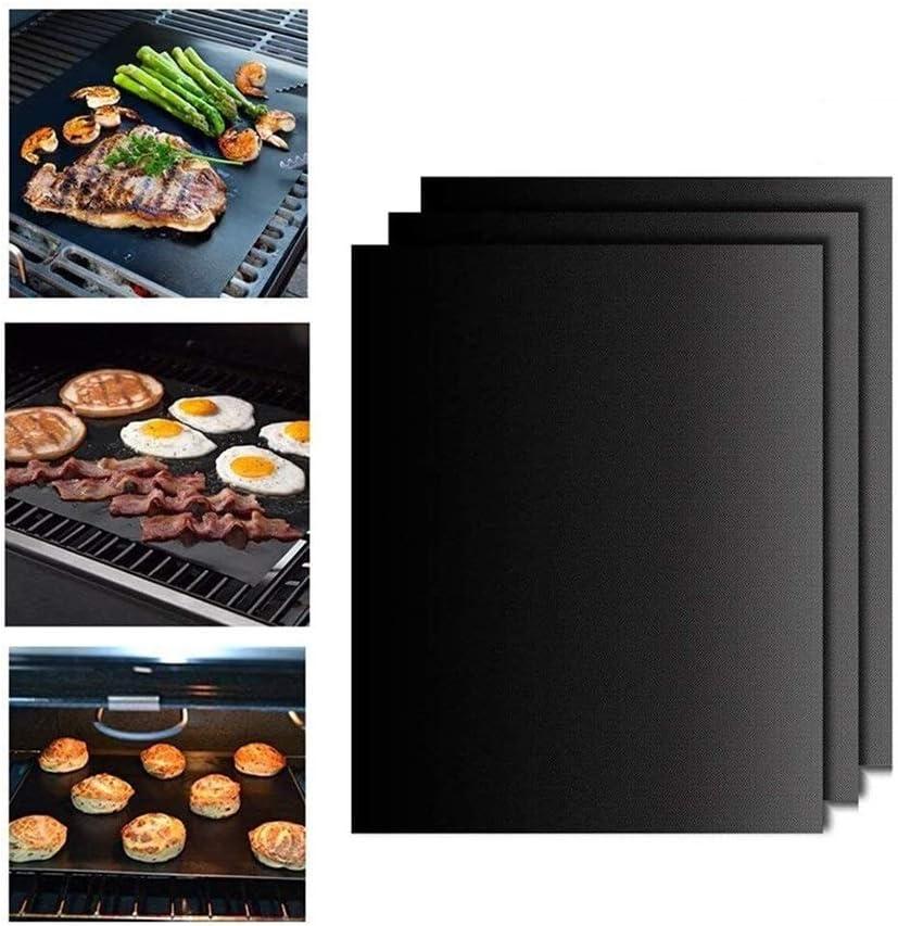 Backofen Non Stick Reusable Barbecue Utensilien Hitzebest/ändige Backen Kochen Matte for Kohle Gas QTDH 3 PC-BBQ Grill-Matte Elektrogrill