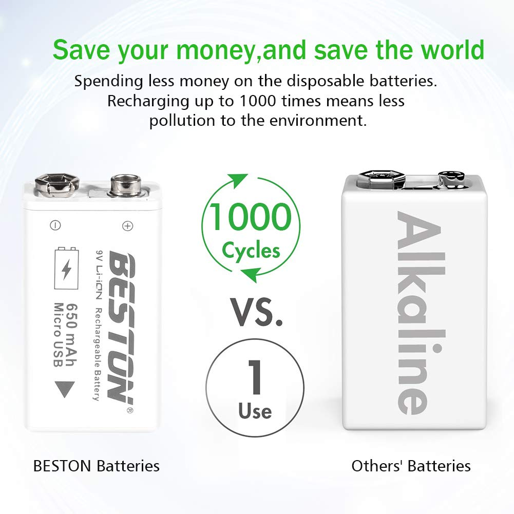 High Capacity 650mAh Rechargeable Li-ion Polymer Battery with Micro USB Charging Port BESTON 9V Lithium ion Battery 4-Pack