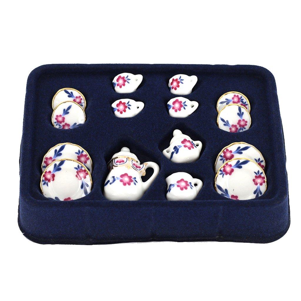 1/12 Dollhouse Miniature Dining Ware Porcelain Tea Set 15pc White with Flower Generic