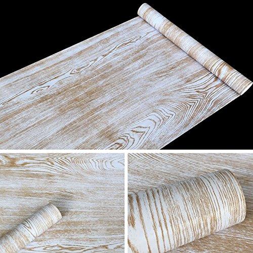SimpleLife4U Rustic Wood Grain Contact Paper Nordic Style Self-Adhesive Shelf Liner Nightstands Sticker 17.7 Inch By 9.8 Feet by SimpleLife4U (Image #1)