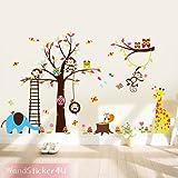 sticker4u mural?Drôles monde animal avec arbre en Afrique?Gross?240x 150cm?Girafe, singe, chouette écureuil éléphant Papillons Renard Oiseau Fleurs Chambre de bébé enfants Chambre sticker mural amovible décoration murale autocollant