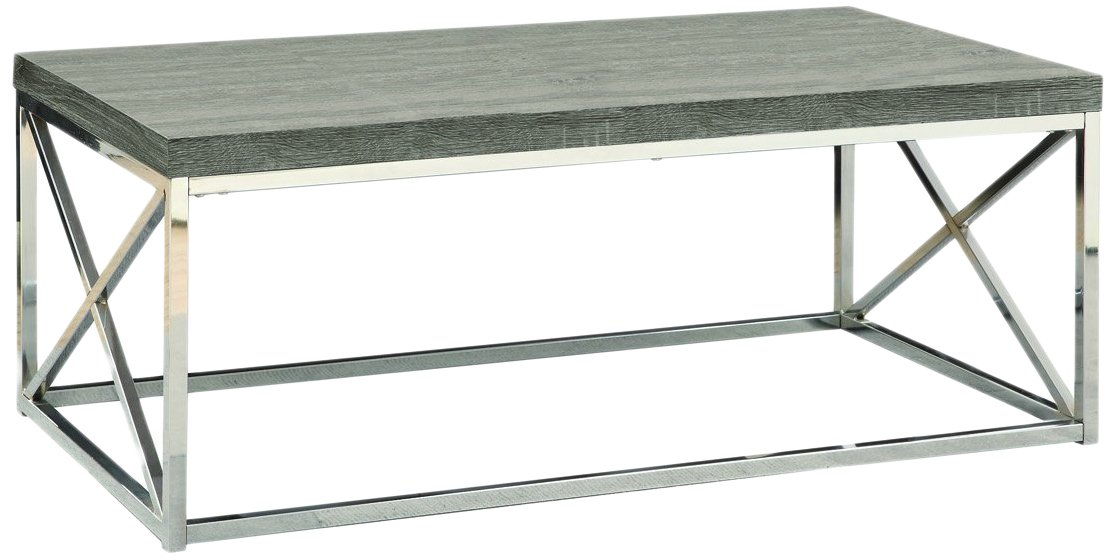 Monarch Specialties I 3258, Cocktail Table, Chrome Metal, Dark Taupe