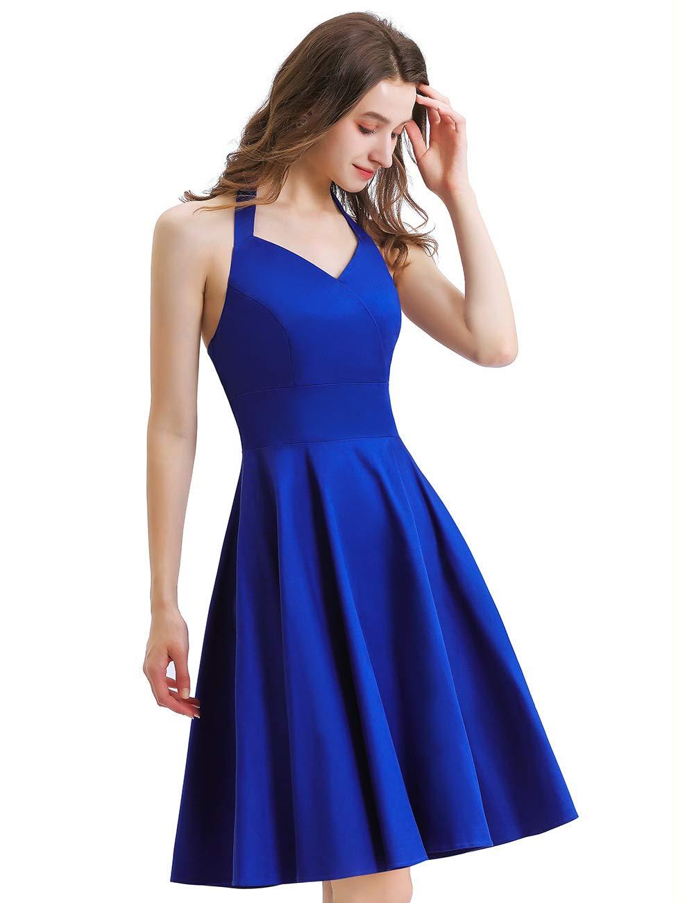 Vintage 1950s Hepburn Dress,Womens Homecoming Vintage Sleeveless Keyhole Flared A-Line Dress with Belt
