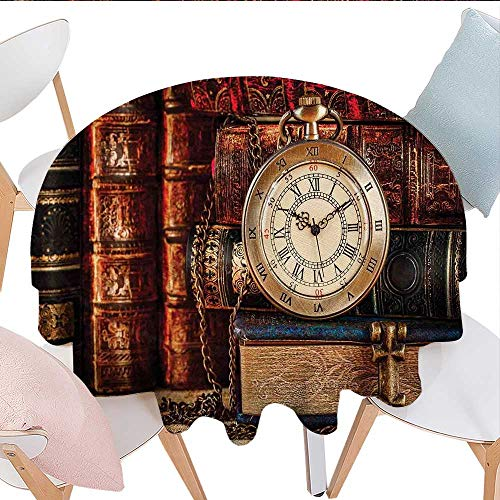 ntique Washable Tablecloth Nostalgic Classic Pocket Watch on The Background Old Books Dated Archive Photo Table Cover Kitchen D70 Multicolor ()