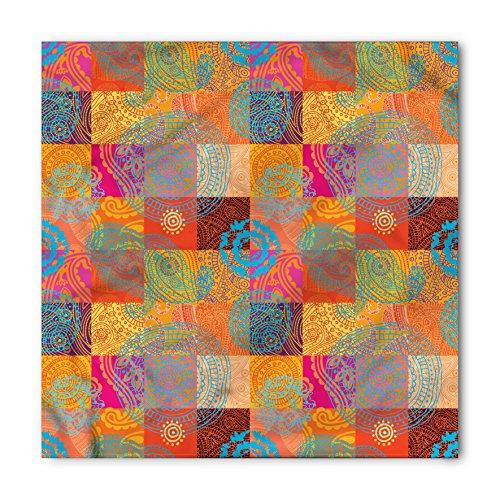 (Lunarable Unisex Bandana, Batik Checkered Squares Asia Design, Purple Orange)